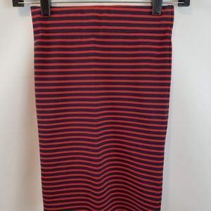 Madewell Striped red & blue mini fitted skirt XXS